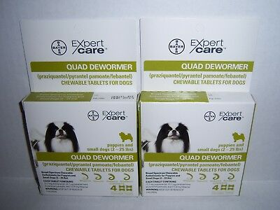 Bayer Expert Care Quad Dewormer Chewables Small Dog 2-25 lbs BRAND NEW 2 BOXES