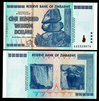 ONE Zimbabwe 100 Trillion Dollar Note AA 2008 series UNCIRCULATED