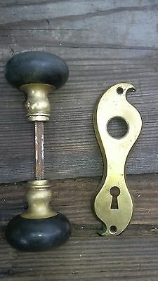 One Vintage-Antique-Baclite -Brass-Door-Knob-Architectural-Salvage Rare F3