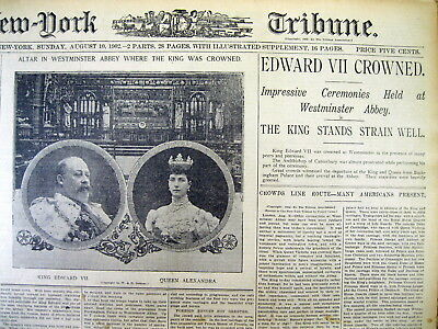 <1902 headline disply newspaper EDWARD VII CROWNED KING OF ENGLAND Victoria Dead