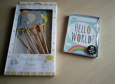 Baby Shower Party Photobooth Selfie Props Hello World Milestone Cards Mum to Be