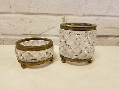 Vintage French Diamond Cut Glass Cigarette Holder and Ashtray with Bronze Gilt