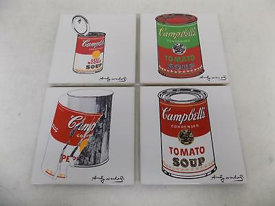 """(4) Andy Warhol 6"""" x 6"""" Ceramic Campbell Soup Modern Art Trivets Fast Shipping"""