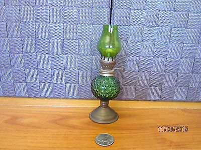 "Miniature glass oil lamp footed emerald green color raised bumps design 5.5"" T"
