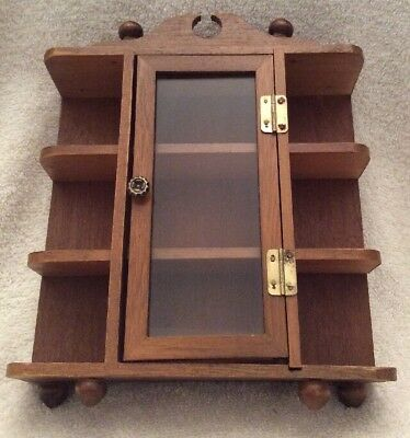 VTG Small Wood Stand Hang Curio Cabinet Display Shelf Table Top or Wall