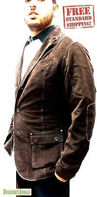 Mens Blazer/Sport Coat Single Breasted US Size Casual Distressed Jacket - BROWN