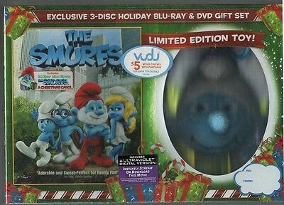 The Smurfs 3 Disc Blu ray DVD Holiday Gift Set  Limited Edition Toy
