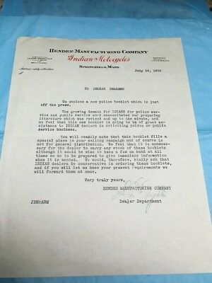 1919 Letter From Hendee Manufacturing Co. Indian Motorcycles To Indian Dealers