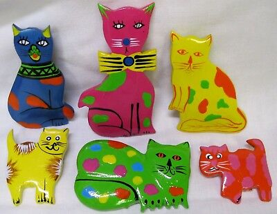 Vintage New Hand Painted 6 Set Lot Wood Cat Pins Brooch Unique Colorful 70's 80s
