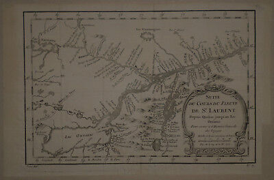1758 Genuine Antique Map St Lawrence River, Lake Ontario. by J.N. Bellin