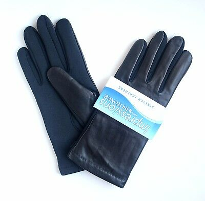 Isotoner Womens Stretch Leather Soft Fleece lined Winter Gloves One Size Black