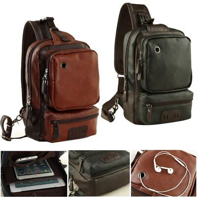 Men's Front Sling Leather Backpack Satchel Shoulder Bag Chest Cycle Day Packs OY