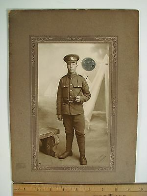 WWI Great Britian Bedfordshire Regiment Soldeir in Uniform B&W Photograph