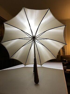 "Antique Parasol Umbrella Alligator Crocodile Handle 33"" Long"