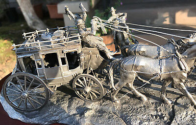 """Franklin Mint """"HOLDUP"""" Stagecoach Limited Edition Pewter Western Heritage Museum"""