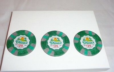 Lot of 3 DUNES CASINO $25 Commemorative Chips House Mold Las Vegas Nevada!