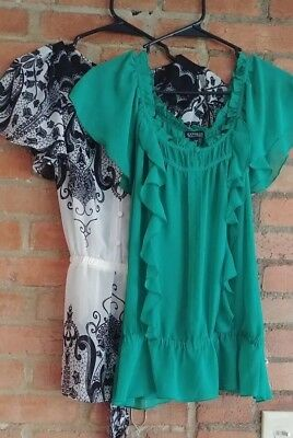 Express Lot of 2 Blouses Tops Green Black &White (Sz small)Gently Used