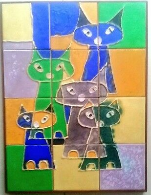 12 TILE SIAMESE CATS FRAMED Wall PLAQUE, DANISH MODERN 1964 MCM