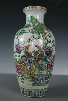Chinese Beautiful Famille Rose Porcelain Flowers and birds Vase