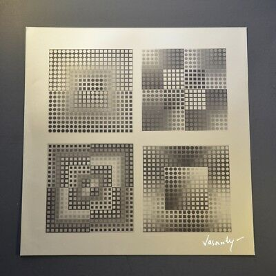 """Victor Vasarely, Four Squares, 1965 Signed Print published in """"Vasarely"""", COA"""