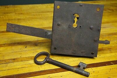 Antique Hand Forged Cast Iron Door Gate Safe Lock & Skeleton Key 18th CenturyI