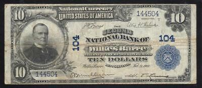 1902 $10 WILKES BARRE, PA National Currency  144504