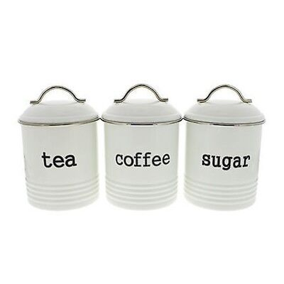 Set of 3 Canister Colonial 1 Litre White - Coffee Tea and Sugar Airtight Sealed