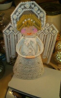 "Vintage Handmade 12"" Canvas Needlepoint Angel Christmas Tree Topper Ornament"