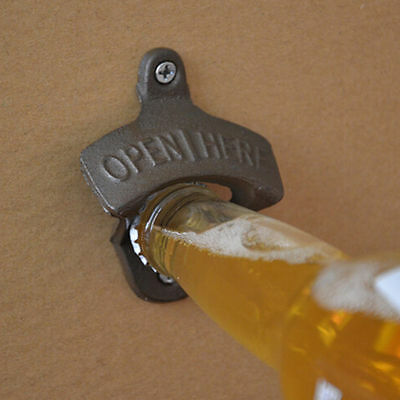 Vintage Antique Style Bar Pub Beer Soda Top Bottle Opener Wall Mount & Ring XX