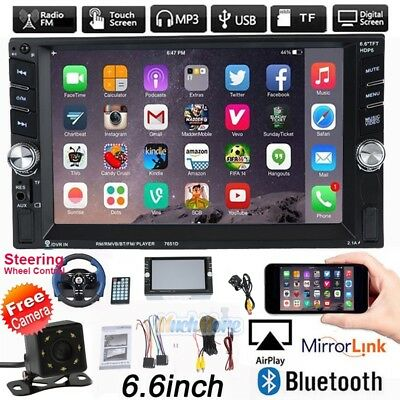 6.6 HD Double 2DIN Bluetooth Touch Screen Car Radio Stereo MP5 MP3 Player HD+Cam