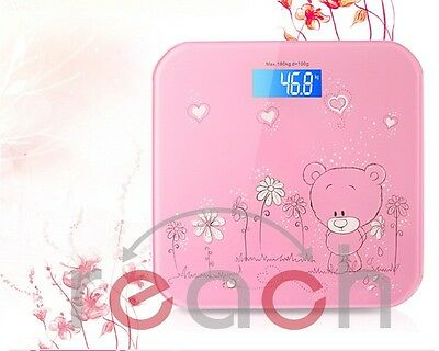 Cute Pink Bear Digital LCD Glass Bathroom Body Scale Weight Watchers up to180kg