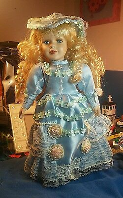 """13"""" Porcelain Doll Blonde Hair Blue Eyes Blue gown w/Stand"""
