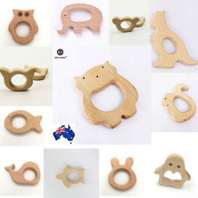 Wooden Cute Animal Shape Baby Teether Teething Chewing bite Toy AU