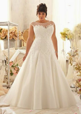 Plus Size White/Ivory Lace Bridal Gown Wedding Dress 14 16 18 20 22 24 26