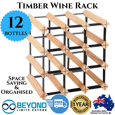 12 Bottle Timber Wine Rack Wooden Storage Pine Cellar Organiser Stand White Red