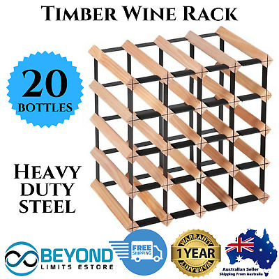 20 Bottle Timber Wine Rack Wooden Storage Pine Cellar Organiser Stand White Red