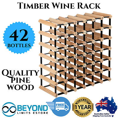 42 Bottle Timber Wine Rack Wooden Storage Pine Cellar Organiser Stand White Red