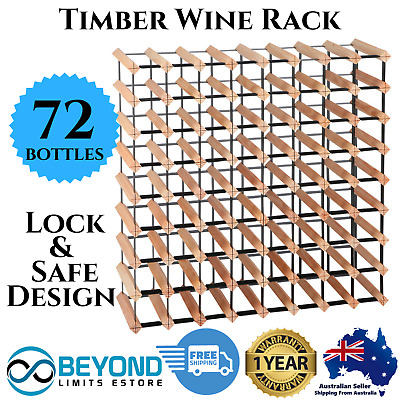 72 Bottle Timber Wine Rack Wooden Storage Pine Cellar Organiser Stand White Red