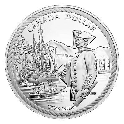 Kanada 1 Dollar 2018 - Captain Cook at Nootka Sound - Silber Polierte Platte PP