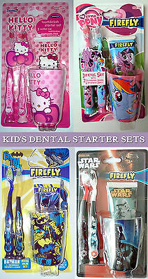 DENTAL STARTER SET Hello Kitty STAR WARS My Little Pony BATMAN Brushes PASTE CUP