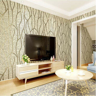 10m Modern Luxury Non-woven Damask Textured Embossed Flocking Paper Home Wall