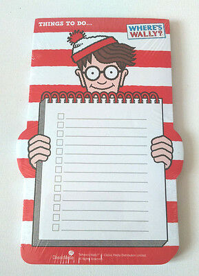 WHERE'S WALLY? THINGS TO DO PAD Lined & Tick Boxes RED STRIPY A5 Shop List GIFT