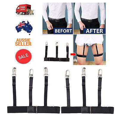Pair Men Shirt Stays Holder Elastic Garters Military Uniform Non-slip Locking AU