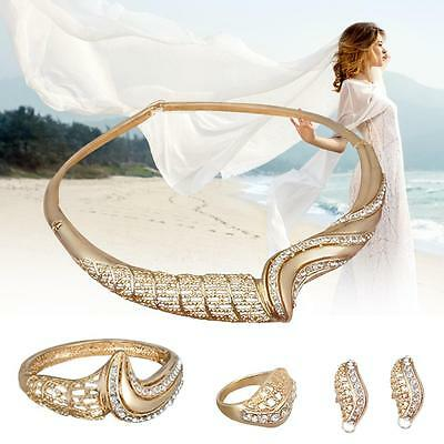 African Costume Gold Plated Crystal Wedding Party Necklace Ring Jewelry Sets #Q