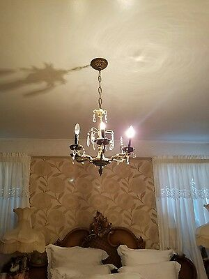 Vintage Bronze Chandelier antique gold style crystal