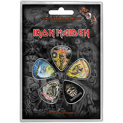 Iron Maiden Faces Of Eddie Pack Of Five Plectrum Pack Guitar Official Rock