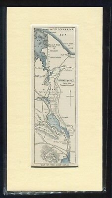 c1900 Mounted Print: Map of the Suez Canal: Egypt