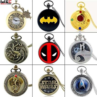 Retro Stainless Watch Vintage Pocket Watch Quartz Pendant Necklace Chain Gift UK