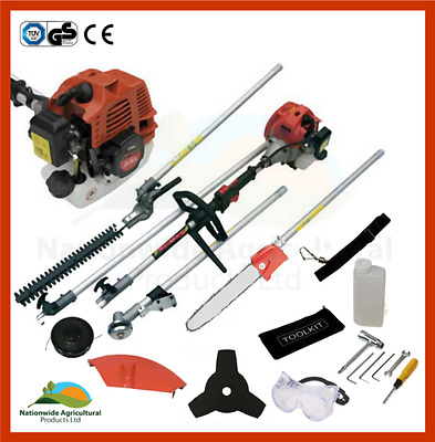 Petrol Multi Function Tool 5 in 1 Strimmer, Brush Cutter, Chainsaw & Pole New