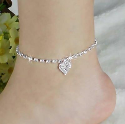 Womens Heart Ankle Bracelet Silver Crystal Anklet Charm Leg Chain Jewellery Gift